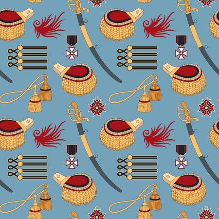 Seamless pattern with sabers, epaulettes and medals. Can be used for graphic design, textile design or web design. Ilustração