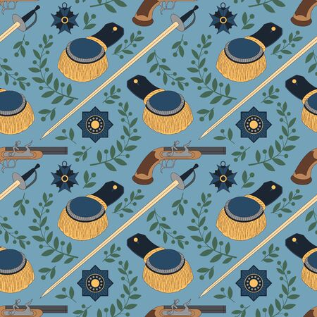 Seamless pattern with swords, epaulettes, pistols and medals. Can be used for graphic design, textile design or web design.