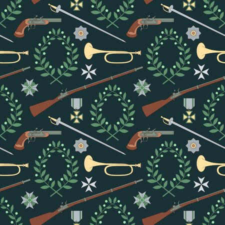 Seamless pattern with weapon of the 19th century. Can be used for graphic design, textile design or web design.