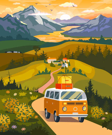 A friendly family in a cute minivan goes camping in the mountains, flat style image with elements of nature