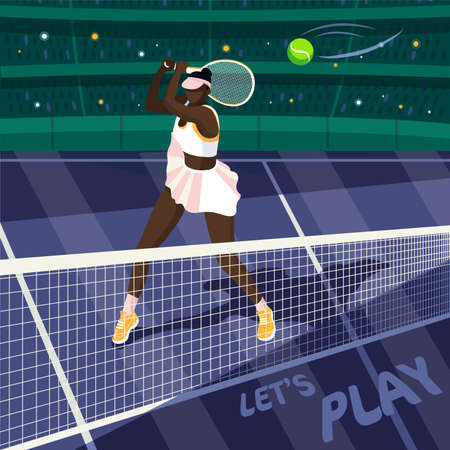 Flat style illustration of an African American tennis player in a packed stadium, hitting the ball with a racket and winning the world tennis championship Illustration