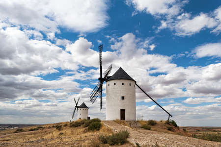 Typical windmills of La Mancha, to which Don Quixote confused with giants Stock Photo