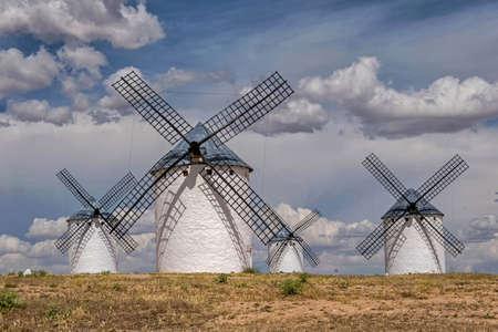 Windmills of Don Quixote in Castilla La Mancha, Spain. Stock Photo