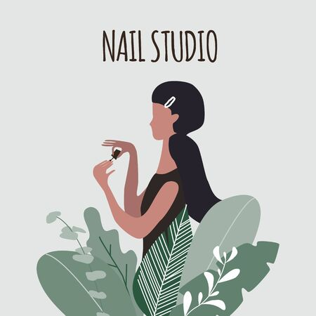 A young pretty woman or girl with hairpin painting nails in big plants. Design concept for cosmetics, beauty salon and spa. Manicure or nail studio poster. Vector illustration. Stock Illustratie