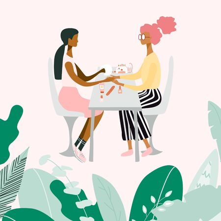 Manicurist or girl performing manicure and her client surrounded by tools and cosmetics for nail care. Big leaves and plants around them. Beauty salon. Colorful vector illustration in flat cartoon sty