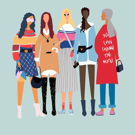 Five young women or girls dressed in trendy, fashionable clothes standing together. Group of female friends, union of feminists, sisterhood. Girl power concept. Female cartoon characters.