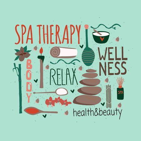 Set di elementi spa e tipografia per terapia termale, pietra e miele, cura del corpo, salone di bellezza, centro benessere, relax, salute, massaggio tailandese, meditazione. Collezione di bellezza disegnata a mano. Illustrazione vettoriale.