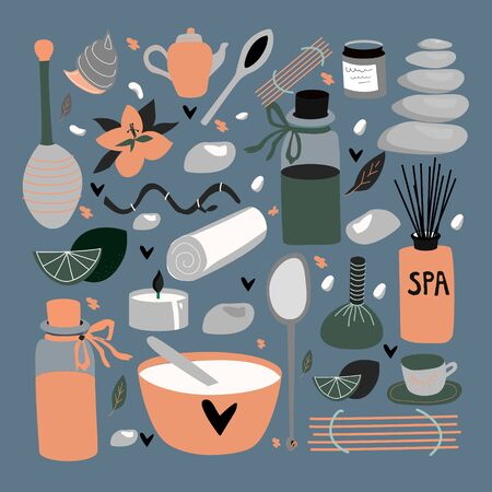 Doodle ensemble d'éléments isolés pour spa, aromathérapie, thérapie aux pierres, soins du corps, salon de beauté, centre de bien-être, détente, santé, massage thaï. Collection de beauté dessinée à la main. Illustration vectorielle. Vecteurs
