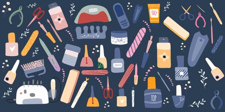 Big set of manicure  pedicure equipment  with nail scissors, polish, tools. Concept for nail studio, salon. Beauty banner for spa. Doodle vector illustration Illustration