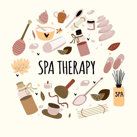 Doodle set of hand drawn spa elements with typography for aroma therapy , body care, beauty salon, wellness center, relax, health, massage, meditation. Collection of beauty. Vector illustration.