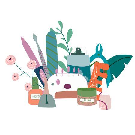 Manicure  pedicure equipment vector composition with nail scissors, polish, cream. Concept for nail studio, salon. Beauty banner for spa. Doodle vector illustration Vettoriali