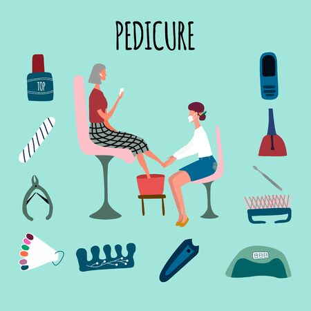 Woman or girl performing pedicure and her client surrounded by tools and cosmetics for nail care. Manicure pedicure equipment . Concept for beauty salon. Vector illustration in flat cartoon style.