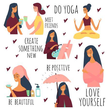 Liebe dich selbst Vektor-Set. Fröhliches Lifestyle-Poster. Motivation für Frauen, sich Zeit für sich selbst zu nehmen: zu Veranstaltungen gehen, kreativ sein, positiv sein, Yoga machen, Gesundheit, Hautpflege. Vektor-Illustration. Vektorgrafik