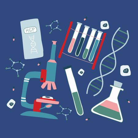 Genetic engineering and genome sequencing set of flat isolated elements: helix DNA, microscope, chromosome, test tubes, cells, nucleotides, book. Hand drawn vector illustration. Çizim