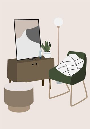 Modern interior design of Living room furniture: armchair, lamp, picture, flower, table. Trendy vector illustration in Scandinavian or minimalist style. Abstract composition for print, card, wallpaper 写真素材 - 131732052