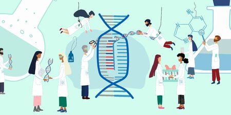 Wissenschaftler erforschen durch Humangenomprojekt. CRISPR-Cas9. Genomsequenzierung, Forschung, Gentechnikkonzept. Großes Set für Poster, Artikel, Banner