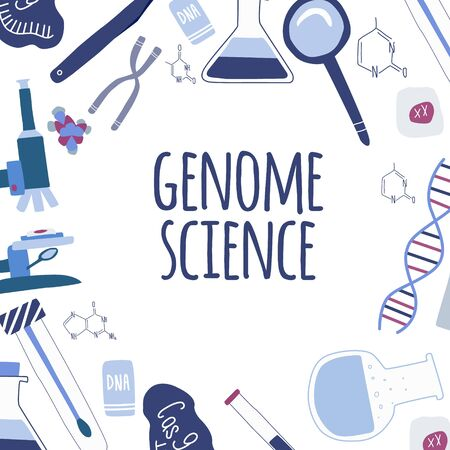 Genetic engineering and genome sequencing tools poster. Set of icons: helix DNA, microscope, chromosome, cas9 RNA. Design for card, print, banner. vector
