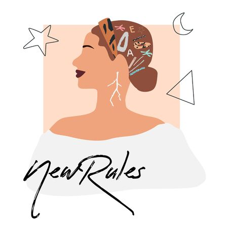 Fashion girl profile portrait  with trendy hairstyle and hair band. Stylish geometric hairpins and hair clips . New rules text. Vector illustration for print, t-shirt design, poster, banner,
