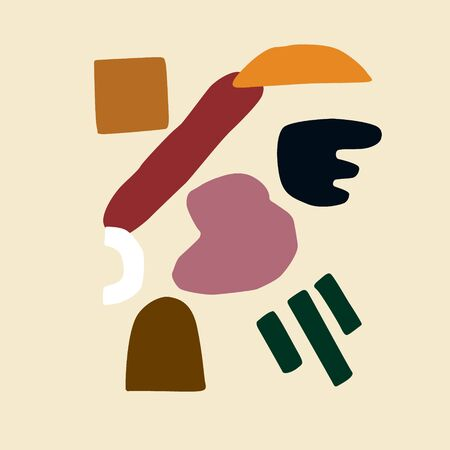 Abstract contemporary trendy set of various shapes and objects. Hand drawn modern collection in Scandinavian style. Vector illustration for interior, print, card, wallpaper, wall art, decoration