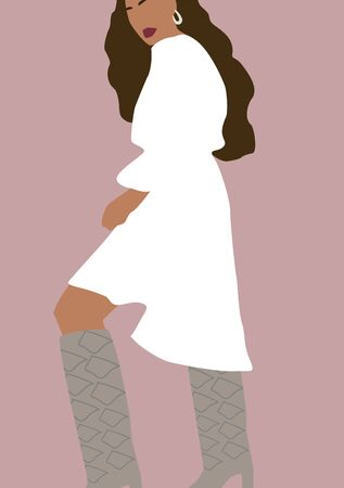 Abstract beautiful woman in white dress posing. Fashion trendy model silhouette.  Modern contemporary flat vector illustration for interior, print, card, wallpaper, decoration, t-shirt, tote bag. Banque d'images - 131732592