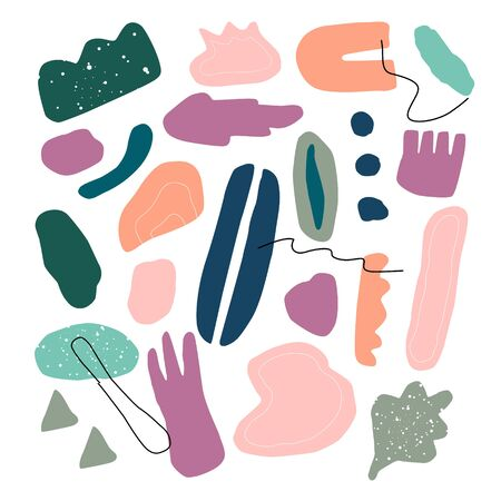 Abstract contemporary trendy set of various shapes, objects, lines, texture.  Hand drawn modern collection. Pastel vector illustration for interior, print, cart, banner.  イラスト・ベクター素材