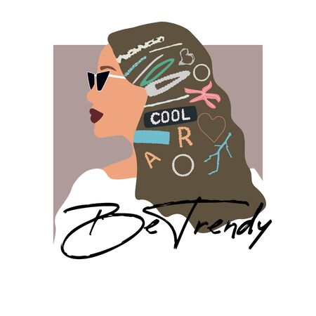Fashion girl portrait  with trendy hairstyle. Stylish geometric hairpins and hair clips with pearls on hair. Be trendy text. Vector illustration for print, t-shirt design, poster, banner, tote bag Çizim