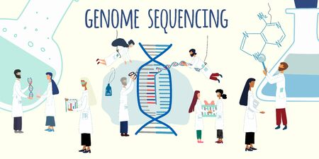 Scientists exploring, working by human genome project. CRISPR- Cas9. Genome sequencing, research, genetic engineering concept. Big set of science for  a poster, article, banner, advertising. vector