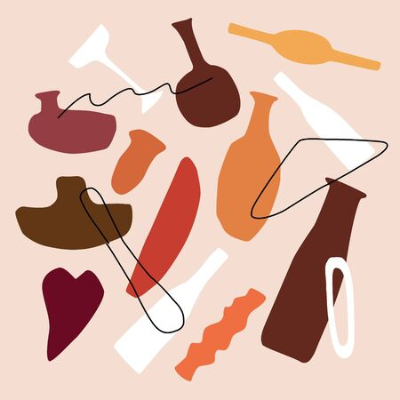 Abstract contemporary trendy set of vase, bottles, shapes and lines. Hand drawn modern collection in Scandinavian style. Vector illustration for interior, print, card, banner. Stock Illustratie