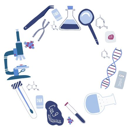 Circle template of elements for genetic engineering and genome sequencing: helix DNA, microscope, chromosome, cas9 RNA. Colorful hand drawn vector illustration in trendy cartoon style