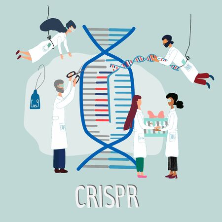 Scientists illustrated how CRISPR CAS9  works. Gene editing tool research . Hand drawn genome sequencing and genetic engineering concept made in vector. Human genome project.