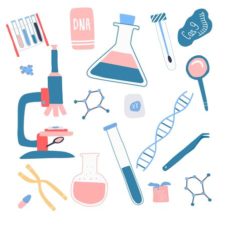 Genetic engineering and genome or gene sequencing set of isolated elements: helix DNA, donor DNA, microscope, chromosome, test tubes, cells, cas9 RNA, nucleotides, books. vector illustration Çizim