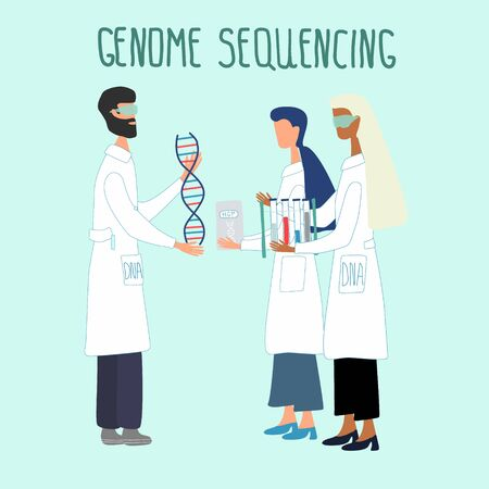 Scientists exploring DNA structure by Human genome project.  Genetic engineering and genome or gene sequencing concept. Colorful doodle vector illustration in trendy cartoon style.