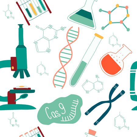 Genetic engineering and sequencing seamless pattern of isolated elements: helix DNA, donor DNA, microscope, chromosome, test tubes, cells, cas9 RNA, nucleotides, books. Vector illustation