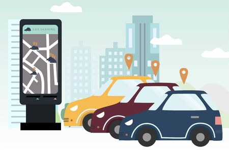 Three  cars for rent on parking area. Smartphone with map and geo tags. City landscape. Carsharing concept for banner, background, web, mobile application, poster. Flat colorful vector illustration