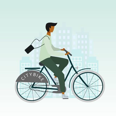 Bicycle man or boy is riding in the city. Flat stylish bike concept. Eco transport. Vector  illustration for banner, web, mobile app, flyer, poster, print, t-shirt.