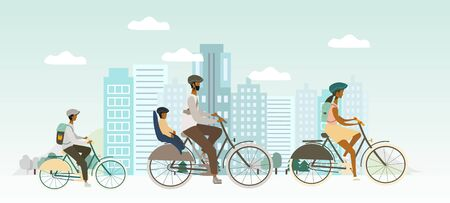 Family riding bicycles . Parents and kids driving a bike in the city. Outdoor activity concept vector for banner, web, mobile app, flyer, poster, print Stok Fotoğraf - 131731889