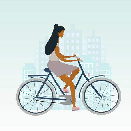 Bicycle woman or girl is riding in the city. Flat stylish bike concept. Eco transport. Vector  illustration for banner, web, mobile app, flyer, poster, print, t-shirt.