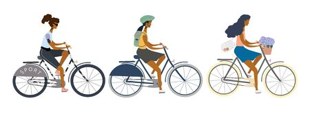 Set of women or girls with different lifestyles riding bikes. Eco transport concept. Vector  illustration for banner, web, mobile app, flyer, poster, print, t-shirt. Иллюстрация