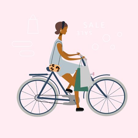 Bicycle stylish woman or girl is riding from shops. Trendy byer going shopping by bike.  Shop or sale concept. Vector  illustration for banner, web, mobile app, flyer, poster, print, t-shirt. Çizim