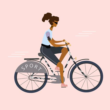 Bicycle Sport woman or girl is riding. Flat stylish bike concept. Eco transport. Vector  illustration for banner, web, mobile app, flyer, poster, print, t-shirt