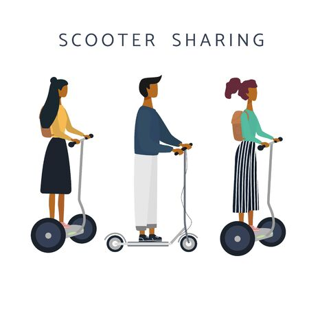 Scooter sharing or rental set. Women, man on e-scooter are riding. Eco transport. Flat vector illustration for banner, web, mobile app, flyer, poster.