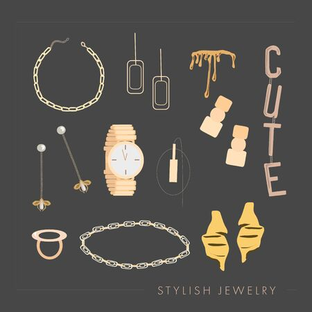 Set of trendy golden jewelry and accessories: rings, necklace, chain, earrings, mono earring, bracelets, watches. Stylish jewelry text.Template for print, card, flyer, shop  concept. isolated elements Standard-Bild - 131374189