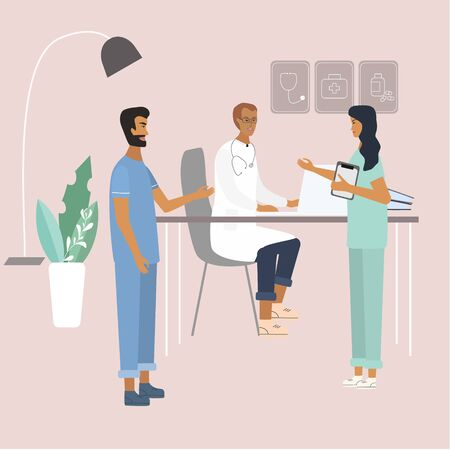 Doctors and nurses discussing and talking at the clinic. Teamwork of medical specialists . Flat  vector illustration in cartoon style for web, medical office, clinics, laboratory