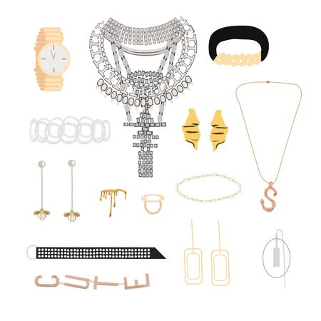 Collection of stylish elegance jewelry and accessories: big necklace with crystals, rings, bride, watches, pendant, earrings, mono earring, bracelets. Woman fashion set, isolated element on white bgrd