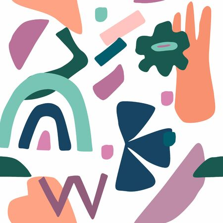 Abstract contemporary seamless pattern. Hand drawn or doodle various crossing shapes. Colorful vector illustration in trendy style for print, poster, banner, card, flyer, cover.  イラスト・ベクター素材