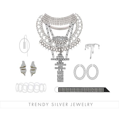 Set of trendy silver jewelry and accessories: big necklace with crystals, ring, stylish belt, earrings, mono earring , bracelet. Trendy silver jewelry text. Woman fashion collection for print, card Standard-Bild - 131374339