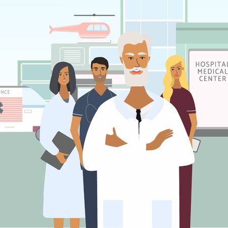 Doctors, nurses and chief physician. Hospital, emergency at the background. Team of happy medical specialists. Flat  vector illustration in cartoon style for web, medical office, clinics, laborator