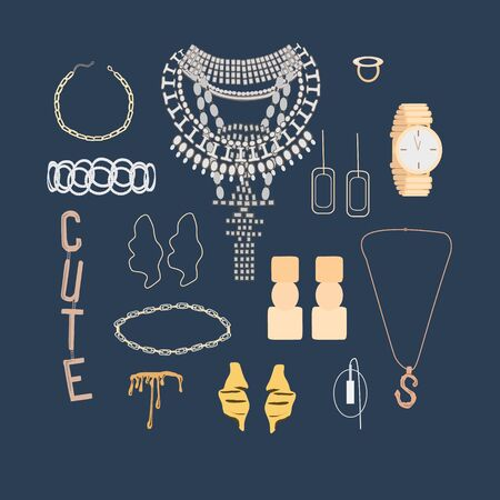 Collection of trendy jewelry and accessories: big necklace with crystals, rings, bride, pendant, earrings, mono earring, bracelets. Woman fashion set for print, card, flyer, shop concept, template Standard-Bild - 131374340