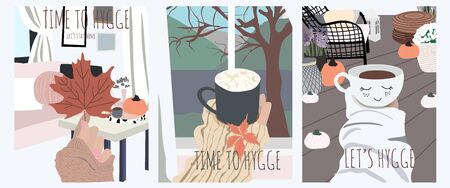 Hygge set of three cute cards of happy person who spend time at home and enjoy it. Cozy interior in trendy Scandinavian style. Vector illustration print, poster, banner