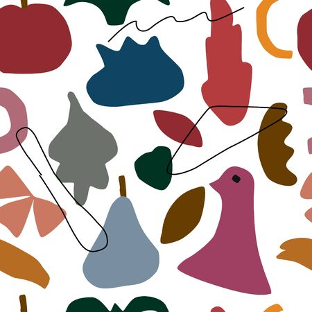 Abstract contemporary trendy seamless pattern . Hand drawn modern set of the fruits, leaves, bird, lines. Natural theme. Vector illustration for interior, print, cart, banner.